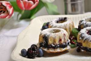 Mini Coconut & Berry Bundt Cakes